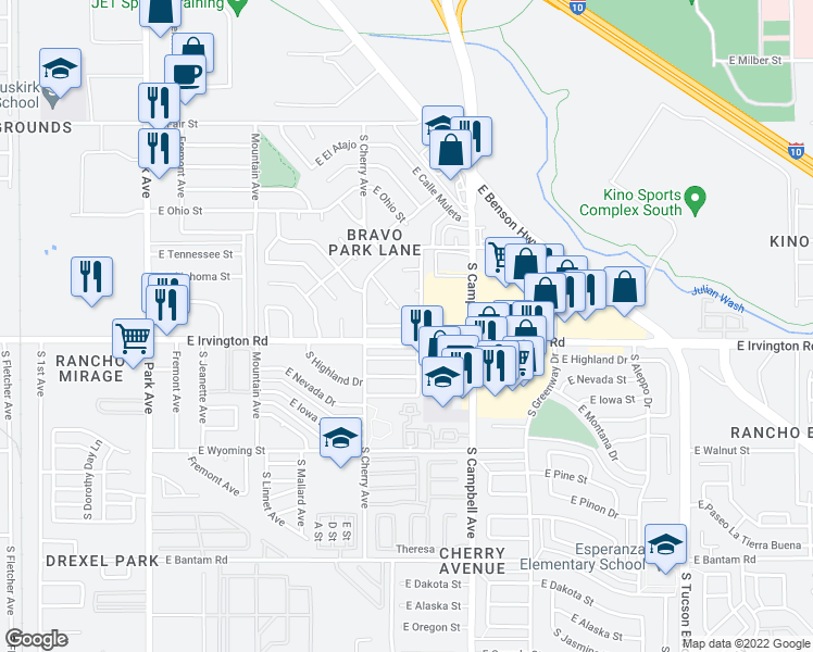 map of restaurants, bars, coffee shops, grocery stores, and more near 1881 East Irvington Road in Tucson