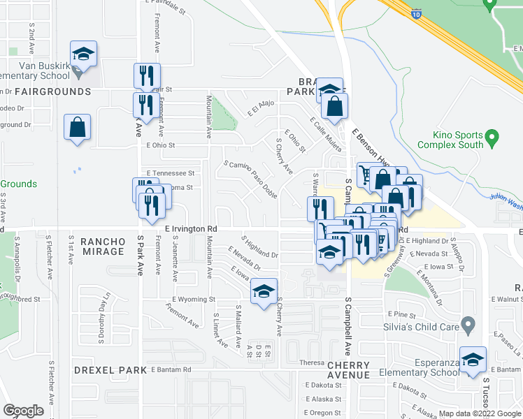 map of restaurants, bars, coffee shops, grocery stores, and more near 4802 South Calle Ole in Tucson