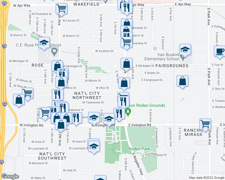 map of restaurants, bars, coffee shops, grocery stores, and more near 119 West Ohio Street in Tucson