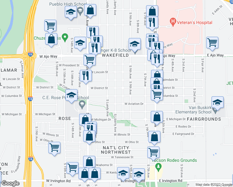 map of restaurants, bars, coffee shops, grocery stores, and more near 4209 South Liberty Avenue in Tucson