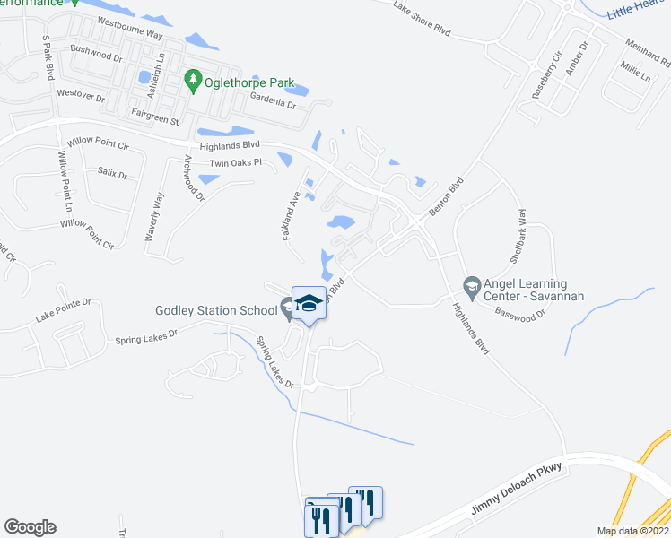 map of restaurants, bars, coffee shops, grocery stores, and more near 2155 Benton Boulevard in Pooler