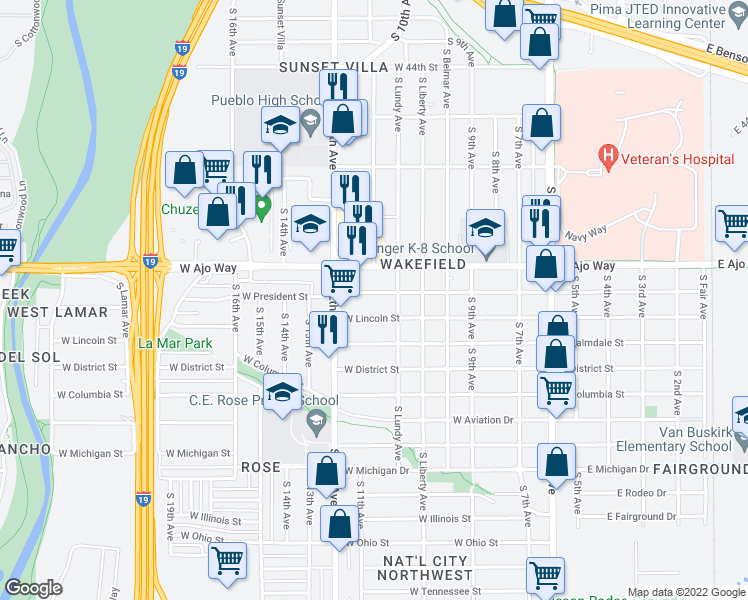 map of restaurants, bars, coffee shops, grocery stores, and more near 431 West President Street in Tucson