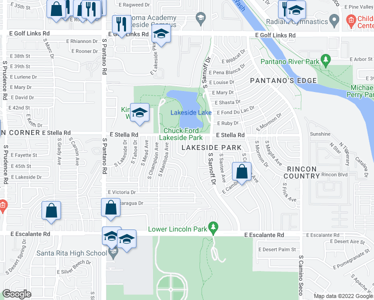 map of restaurants, bars, coffee shops, grocery stores, and more near South Lakeside Ridge Loop in Tucson