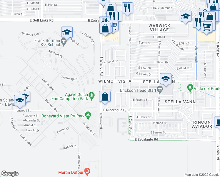 map of restaurants, bars, coffee shops, grocery stores, and more near 3225 South Wilmot Road in Tucson