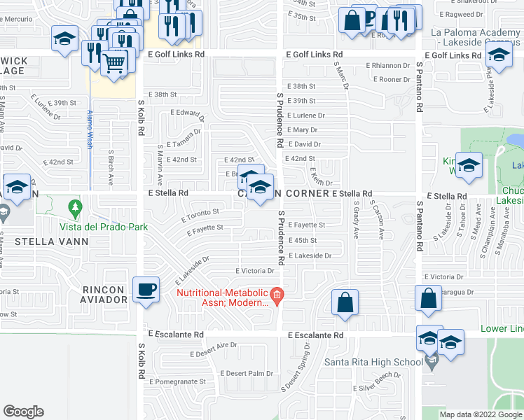 map of restaurants, bars, coffee shops, grocery stores, and more near 7450 East Stella Road in Tucson
