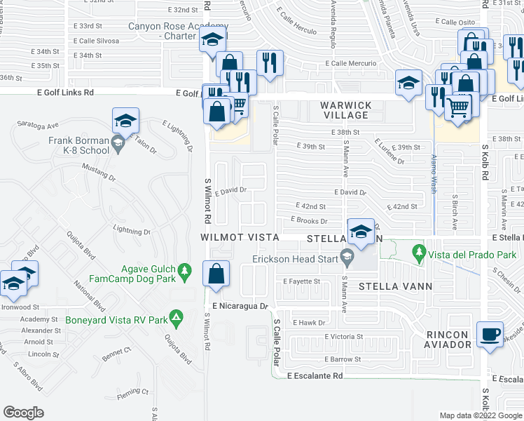 map of restaurants, bars, coffee shops, grocery stores, and more near 3094 South Foster Drive in Tucson