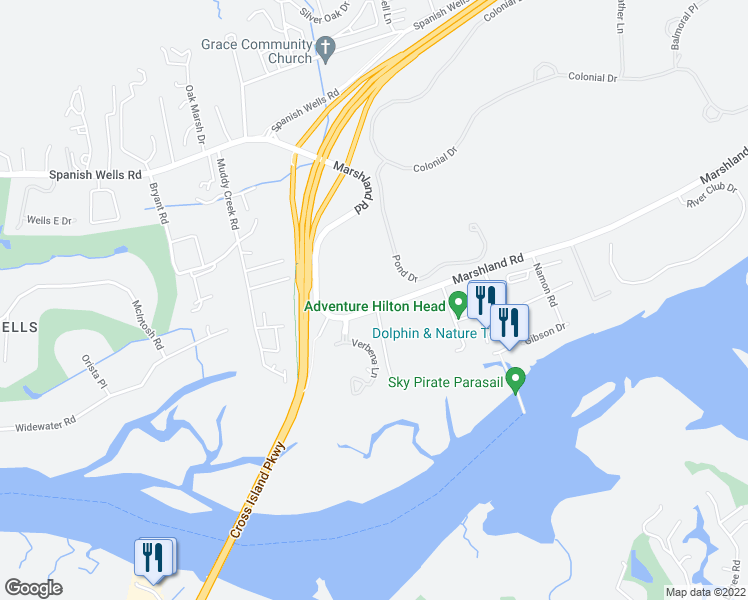 map of restaurants, bars, coffee shops, grocery stores, and more near 380 Marshland Road in Hilton Head Island