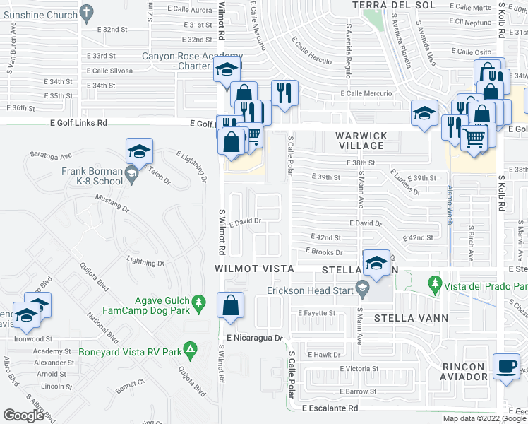map of restaurants, bars, coffee shops, grocery stores, and more near 6426 East Mary Drive in Tucson