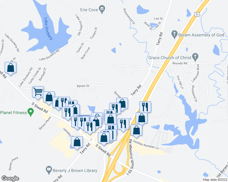 map of restaurants, bars, coffee shops, grocery stores, and more near 51 Byram Drive in Byram
