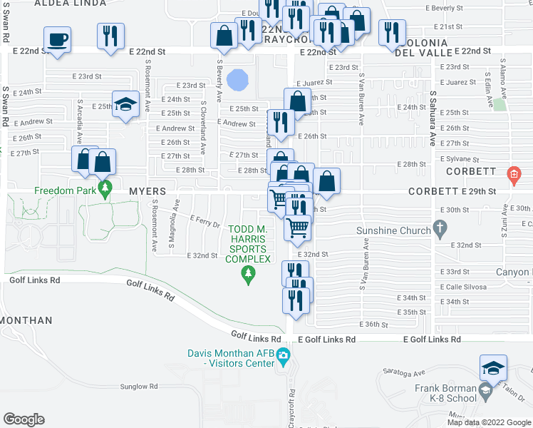 map of restaurants, bars, coffee shops, grocery stores, and more near 5402 East 30th Street in Tucson