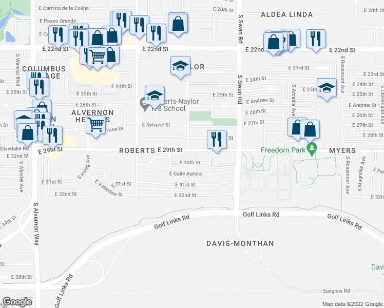 map of restaurants, bars, coffee shops, grocery stores, and more near 4440 East 29th Street in Tucson