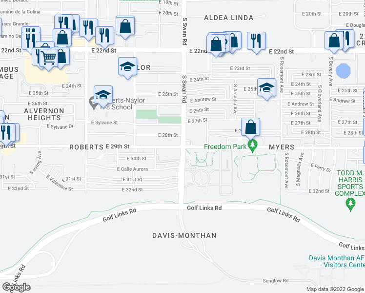 map of restaurants, bars, coffee shops, grocery stores, and more near South Swan Road & East 29th Street in Tucson