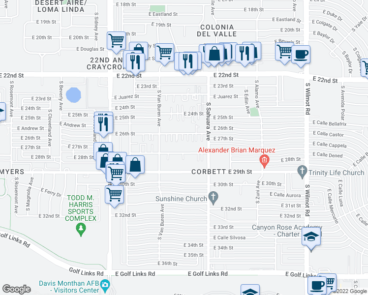 map of restaurants, bars, coffee shops, grocery stores, and more near 5765 East 28th Street in Tucson
