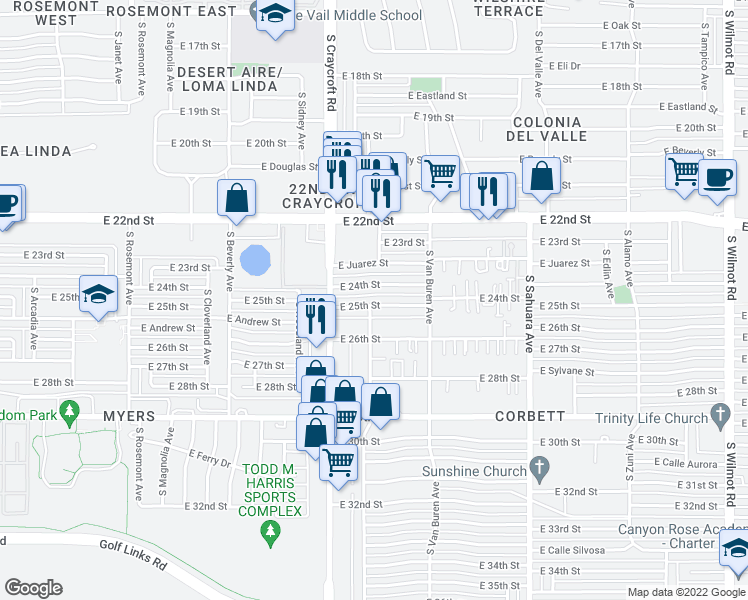 map of restaurants, bars, coffee shops, grocery stores, and more near 5601 East 25th Street in Tucson