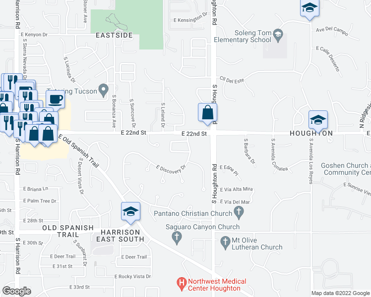 map of restaurants, bars, coffee shops, grocery stores, and more near 10187 East Pleasant View Way in Tucson
