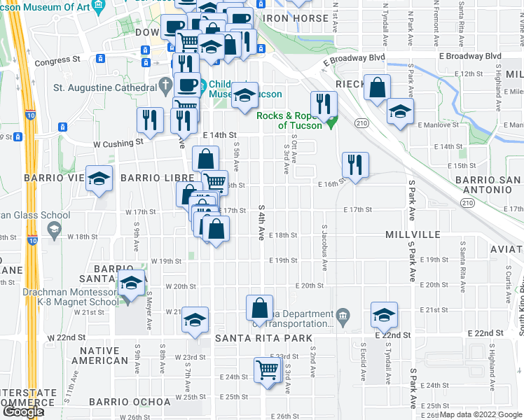 map of restaurants, bars, coffee shops, grocery stores, and more near South 4th Avenue & East 17th Street in Tucson