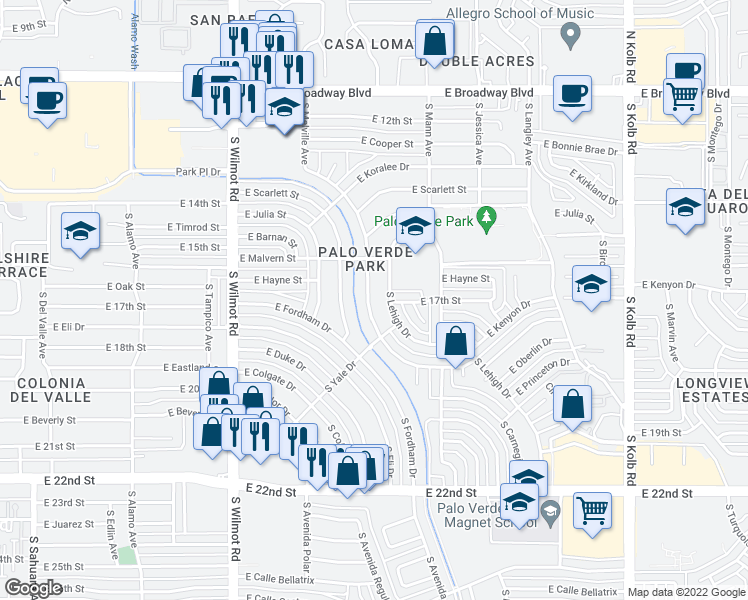 map of restaurants, bars, coffee shops, grocery stores, and more near 609 South Kenyon Drive in Tucson