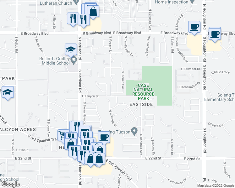 map of restaurants, bars, coffee shops, grocery stores, and more near 9740 East Celtis Avenue in Tucson
