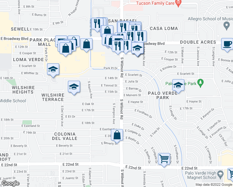 map of restaurants, bars, coffee shops, grocery stores, and more near 6252 East 15th Street in Tucson