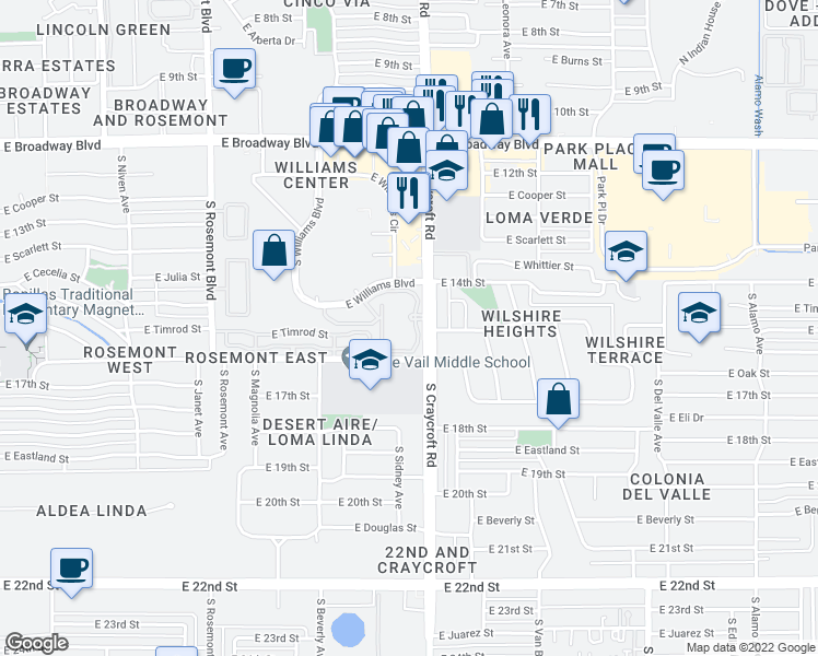 map of restaurants, bars, coffee shops, grocery stores, and more near 5400 East Williams Boulevard in Tucson