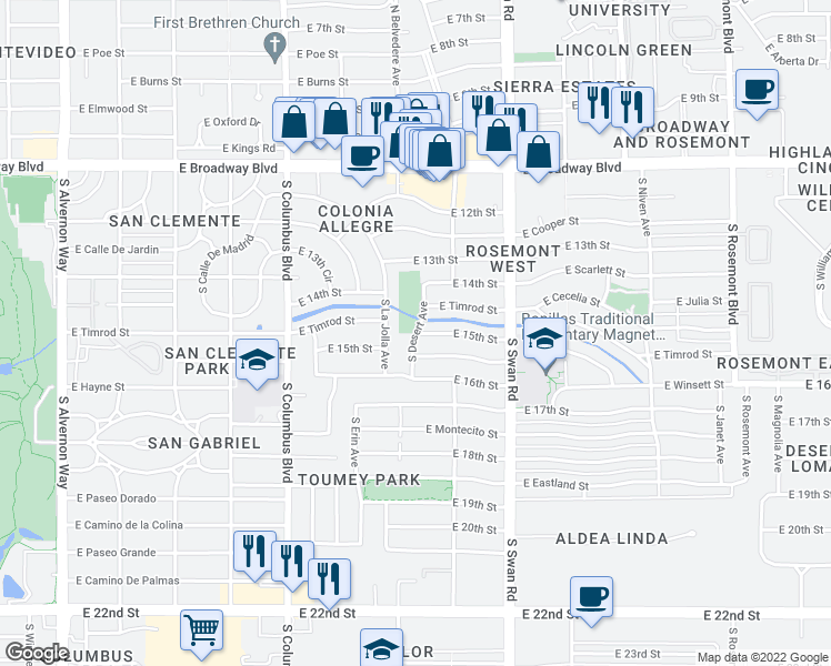map of restaurants, bars, coffee shops, grocery stores, and more near East 15th Street in Tucson