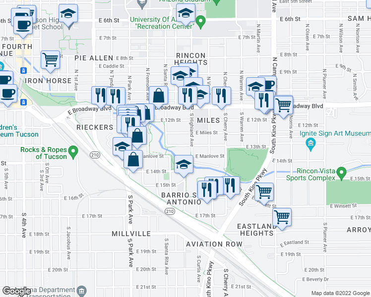 map of restaurants, bars, coffee shops, grocery stores, and more near 1334 East 13th Street in Tucson