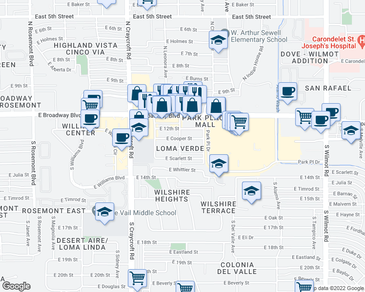 map of restaurants, bars, coffee shops, grocery stores, and more near 5701 East 13th Street in Tucson