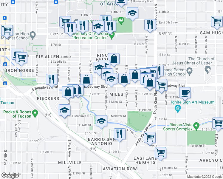 map of restaurants, bars, coffee shops, grocery stores, and more near 1400 East Broadway Boulevard in Tucson