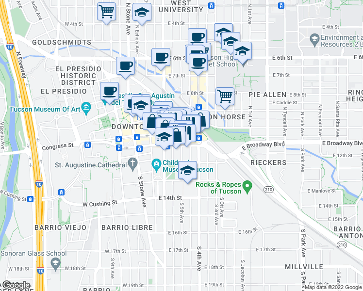 map of restaurants, bars, coffee shops, grocery stores, and more near E Broadway Blvd & S 5th Ave in Tucson