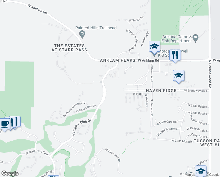 map of restaurants, bars, coffee shops, grocery stores, and more near 101 South Players Club Drive in Tucson