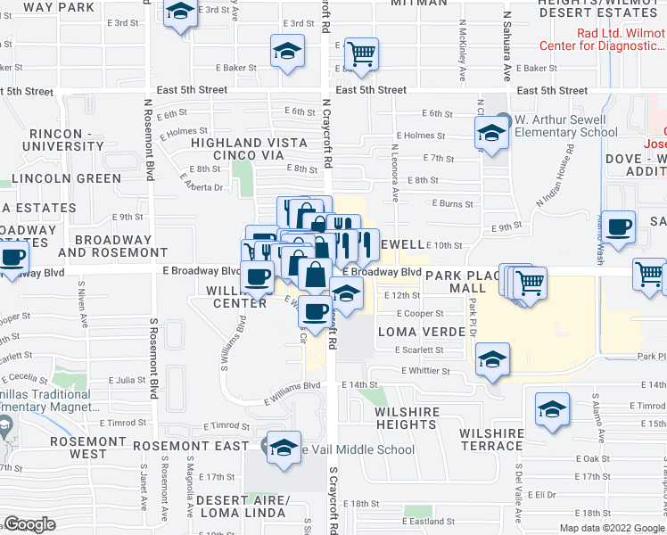 map of restaurants, bars, coffee shops, grocery stores, and more near East Broadway Boulevard & North Craycroft Road in Tucson