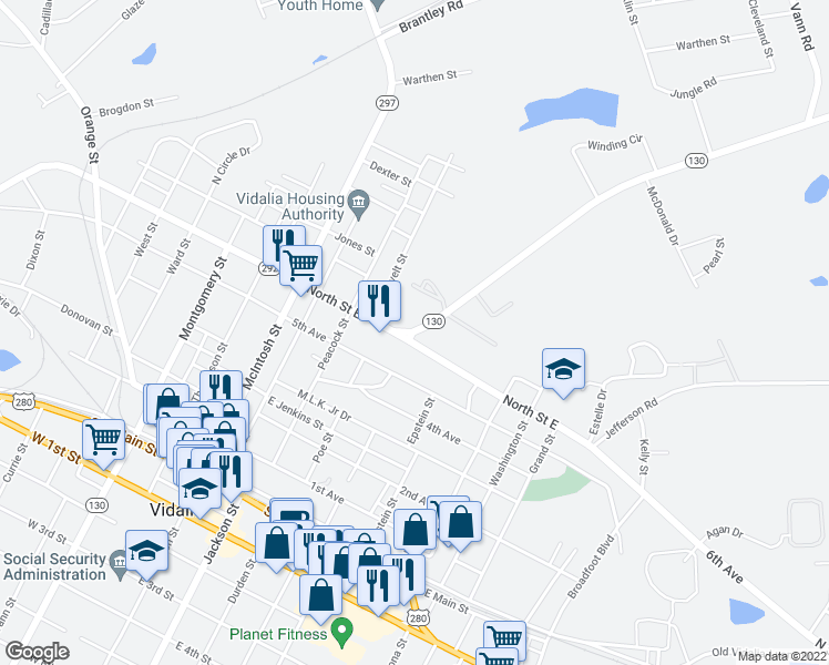 map of restaurants, bars, coffee shops, grocery stores, and more near 501 North Saint East in Vidalia