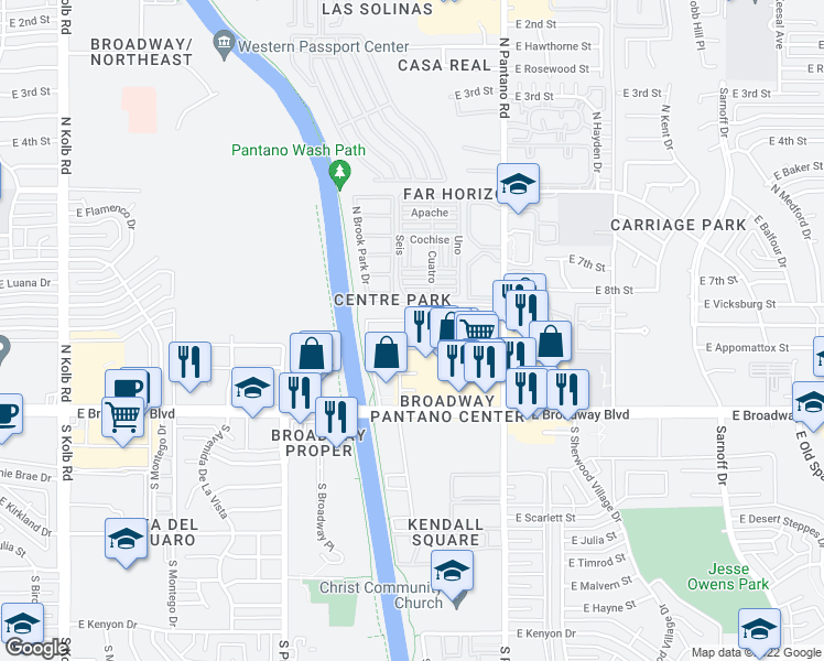 map of restaurants, bars, coffee shops, grocery stores, and more near 29 in Tucson
