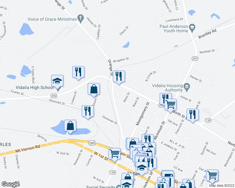 map of restaurants, bars, coffee shops, grocery stores, and more near 601-699 Georgia Street in Vidalia