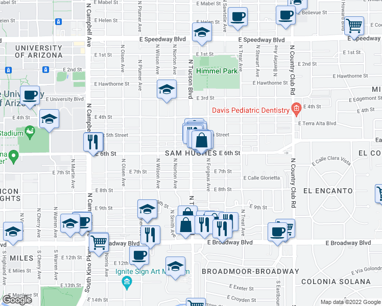 map of restaurants, bars, coffee shops, grocery stores, and more near 2500 E 6th St in Tucson