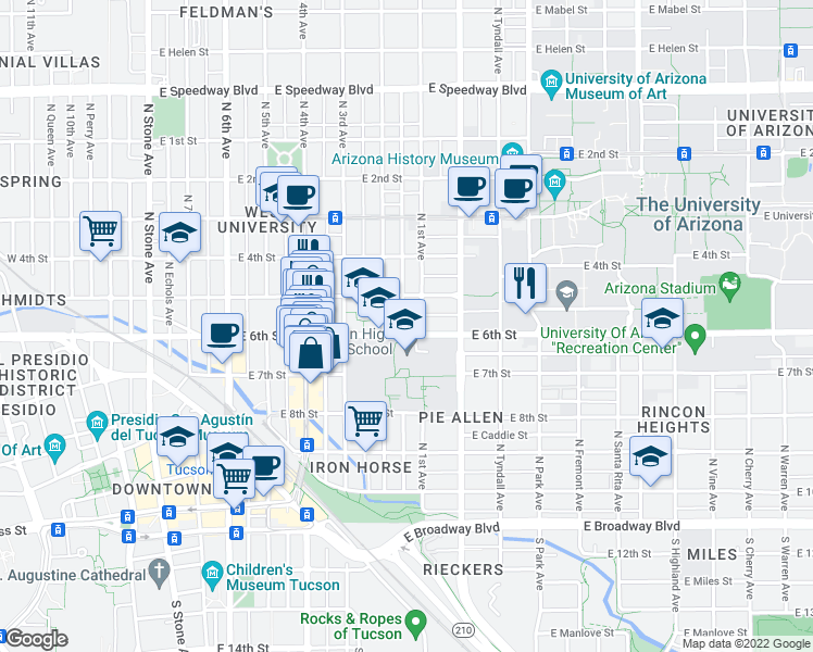 map of restaurants, bars, coffee shops, grocery stores, and more near 621 East 6th Street in Tucson