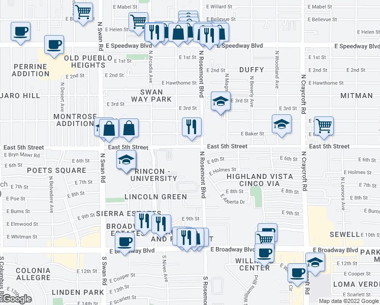 map of restaurants, bars, coffee shops, grocery stores, and more near 5050 East 5th Street in Tucson