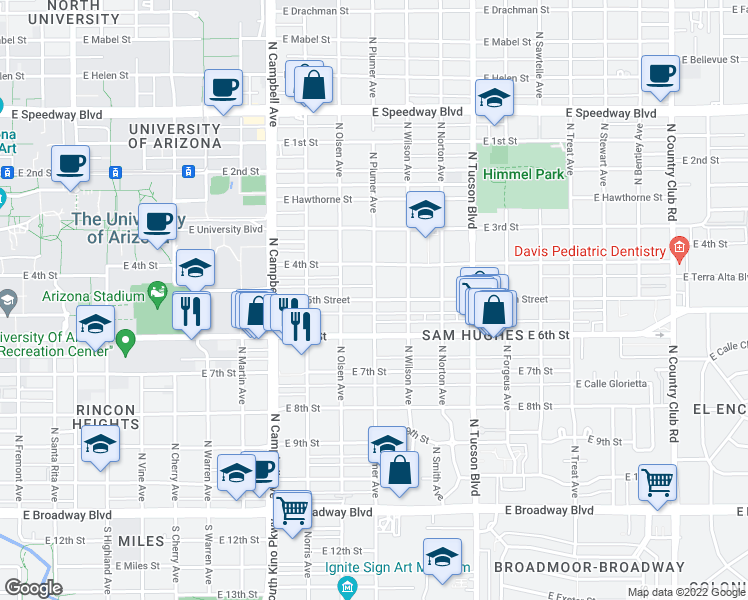 map of restaurants, bars, coffee shops, grocery stores, and more near E 5th St & N Plumer Ave in Tucson