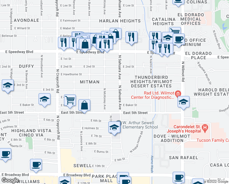 map of restaurants, bars, coffee shops, grocery stores, and more near 5842 East 3rd Street in Tucson