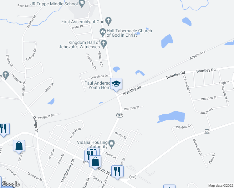 map of restaurants, bars, coffee shops, grocery stores, and more near 1603 McIntosh Street in Vidalia