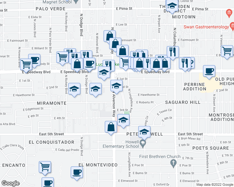 map of restaurants, bars, coffee shops, grocery stores, and more near 940 North Alvernon Way in Tucson