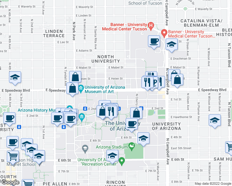 map of restaurants, bars, coffee shops, grocery stores, and more near Blvd in Tucson