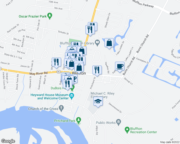map of restaurants, bars, coffee shops, grocery stores, and more near 25 Bruin Road in Bluffton