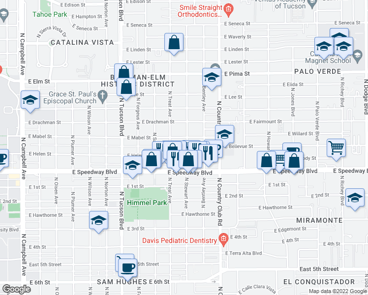 map of restaurants, bars, coffee shops, grocery stores, and more near 1205 North Stewart Avenue in Tucson