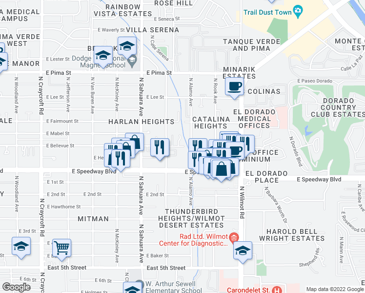 map of restaurants, bars, coffee shops, grocery stores, and more near 6056 East Bellevue Street in Tucson