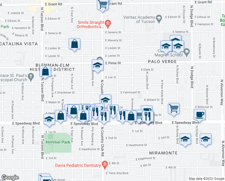 map of restaurants, bars, coffee shops, grocery stores, and more near 3145 East Fairmount Street in Tucson