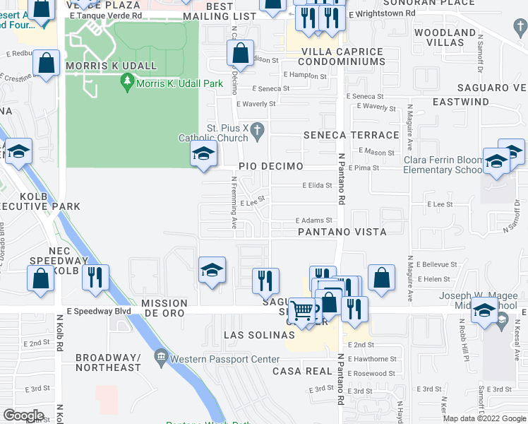 map of restaurants, bars, coffee shops, grocery stores, and more near 1515 North Grady Avenue in Tucson