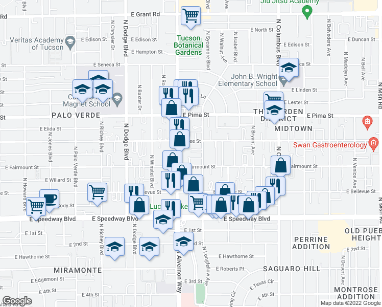 map of restaurants, bars, coffee shops, grocery stores, and more near 1435 N Sycamore Blvd in Tucson