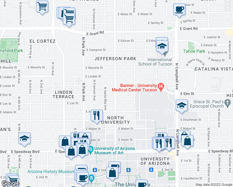 map of restaurants, bars, coffee shops, grocery stores, and more near 1301 East Elm Street in Tucson