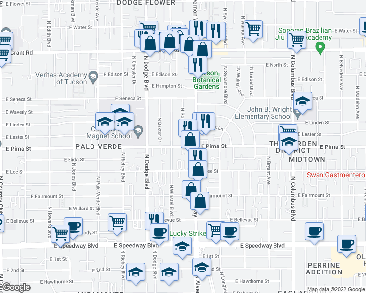 map of restaurants, bars, coffee shops, grocery stores, and more near E Pima St & N Rosemary Blvd in Tucson